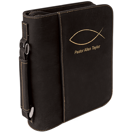 Black/Gold Leatherette Book/Bible Cover with Zipper & Handle