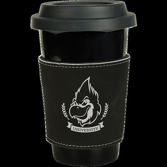 Black/Silver Leatherette Latte Mug Sleeve