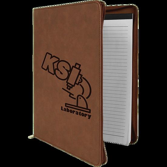 Dark Brown Leatherette Portfolio with Zipper & Notepad