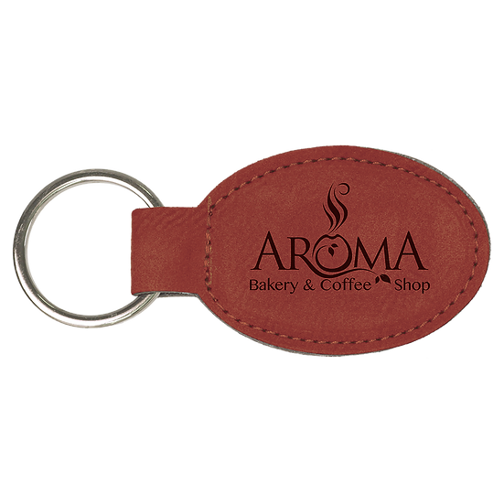 Rose' Leatherette Oval Keychain