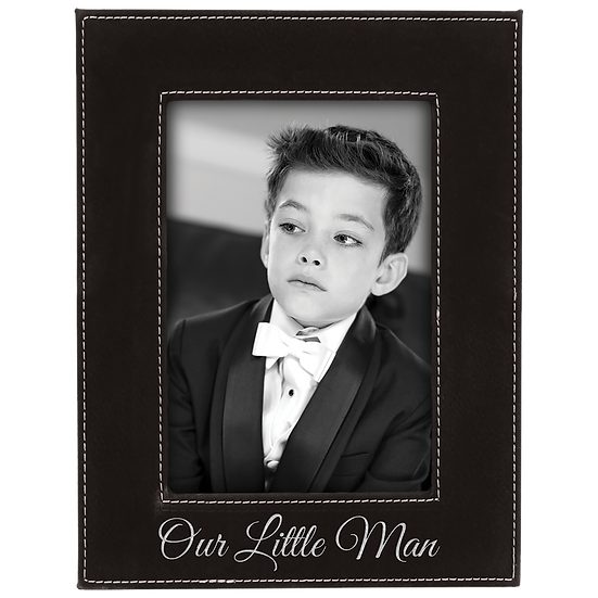 "dlack/Silver 4"" x 6"" Leatherette Photo Frame"