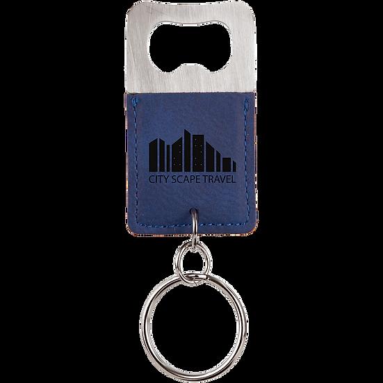 Blue/Black Leatherette Rectangle Bottle Opener Keychain