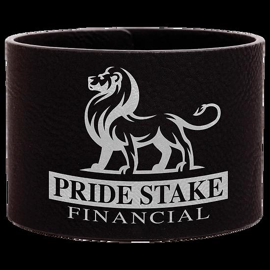 Black/Silver Leatherette Cuff Bracelet