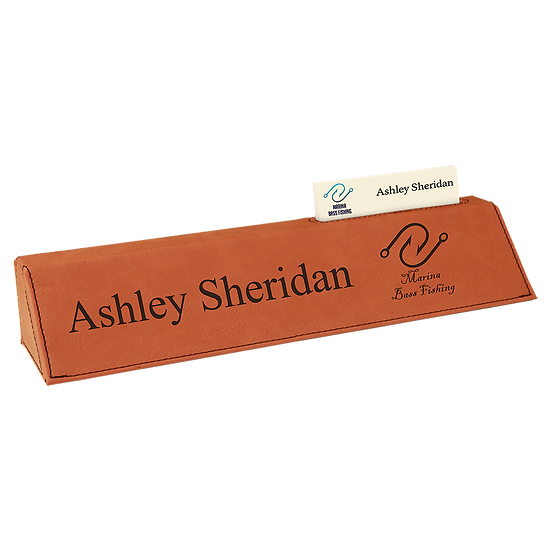"Rawhide 10 1/2"" Leatherette Desk Wedge with Business Card Holder"