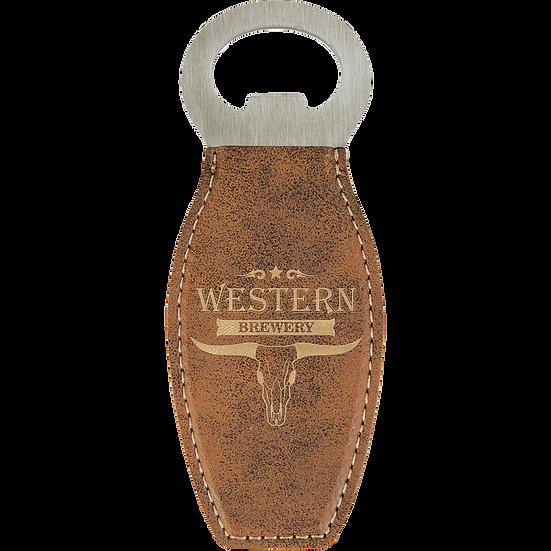 Rustic/Gold Leatherette Magnetic Bottle Opener