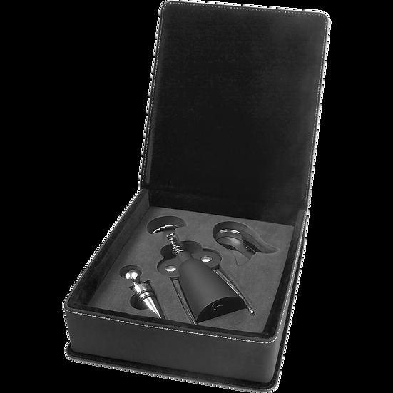Black/Silver Leatherette 3-Piece Wine Tool Set