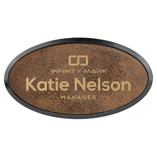 "Rustic/Gold 3"" x 1 1/2"" Leatherette Oval Badge with Frame"