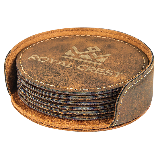 Rustic/Gold Leatherette Round 6-Coaster Set
