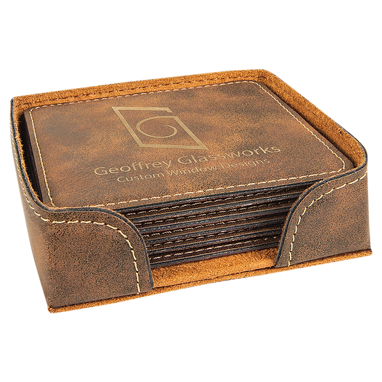 Rustic/Gold Leatherette Square 6-Coaster Set