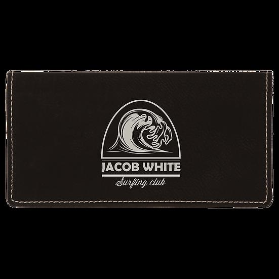 Black/Silver Leatherette Checkbook Cover