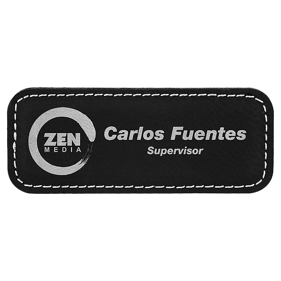 """Black/Silver 3 1/4"""" x 1 1/4"""" Leatherette Badge with Magnet"""
