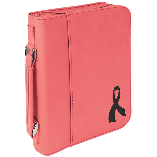 Pink Leatherette Book/Bible Cover with Zipper & Handle