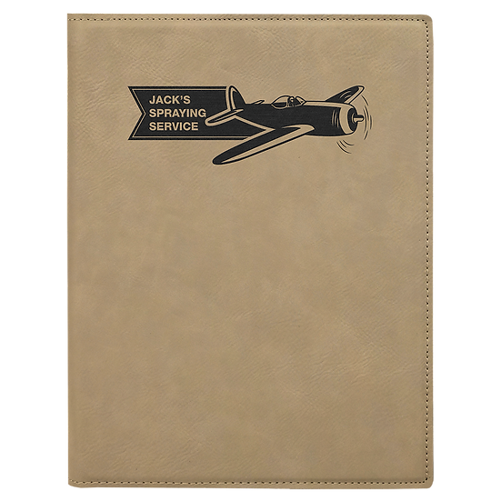 Light Brown Small Leatherette Portfolio with Notepad