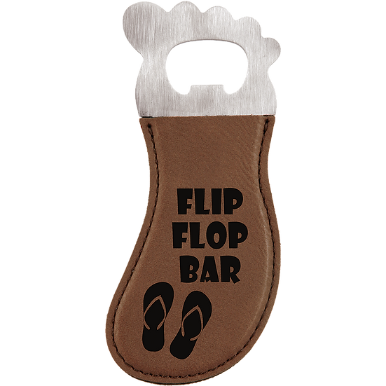 Dark Brown Leatherette Foot Shaped Magnetic Bottle Opener