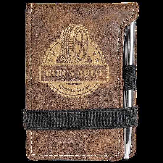 Rustic/Gold Leatherette Mini Notepad & Pen Set
