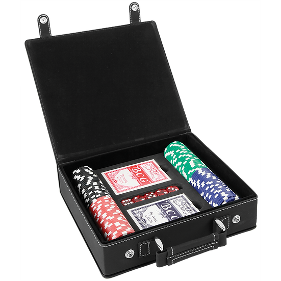 Black/Silver Leatherette Poker Set with 100 Chips, 2 Decks of Card & 5 Dice