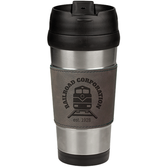 16 oz. Stainless Steel Travel Mug with Gray Leatherette Grip