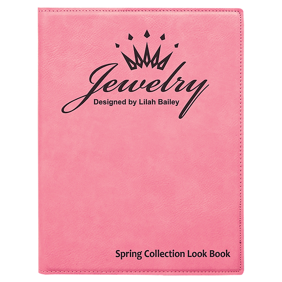 Pink Small Leatherette Portfolio with Notepad