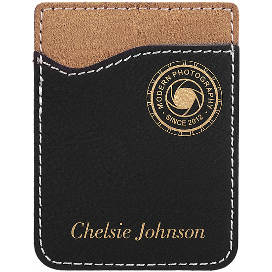 dlack/Gold Leatherette Phone Wallet
