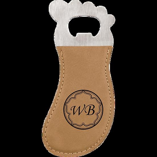Light Brown Leatherette Foot Shaped Magnetic Bottle Opener