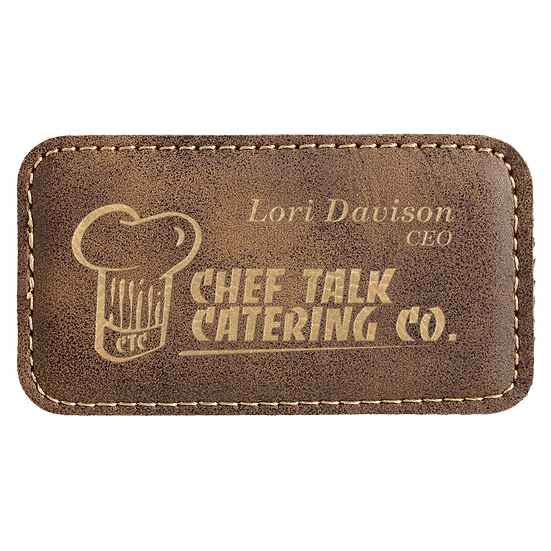 "Rustic/Gold 3 1/4"" x 1 3/4"" Leatherette Badge with Magnet"