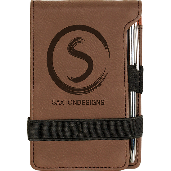 Dark Brown Leatherette Mini Notepad & Pen Set