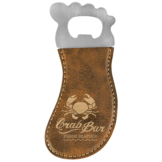Rustic/Gold Leatherette Foot Shaped Magnetic Bottle Opener