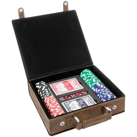 Rustic/Gold Leatherette Poker Set with 100 Chips, 2 Decks of Card & 5 Dice