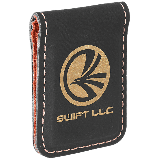Black/Gold Leatherette Money Clip