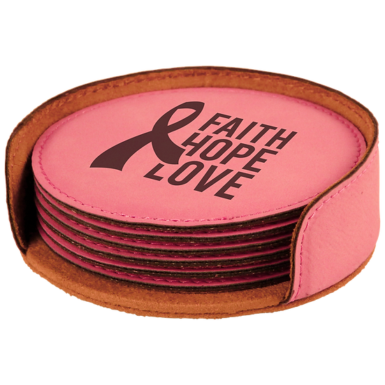 Pink Leatherette Round 6-Coaster Set