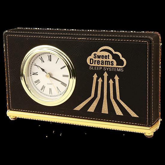 Black/Gold Leatherette Horizontal Desk Clock