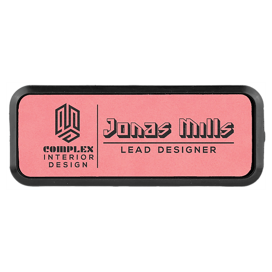"""Pink 3"""" x 1"""" Leatherette Round Corner Badge with Frame"""