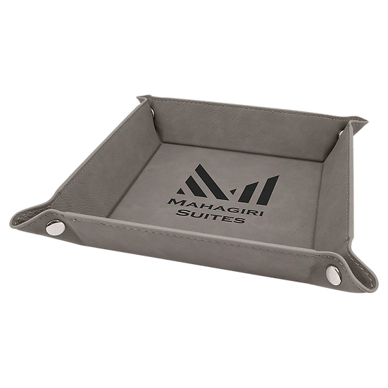 Gray Leatherette Folding Tray with Snaps