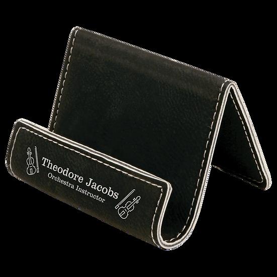 Black/Silver Leatherette Holder/Easel