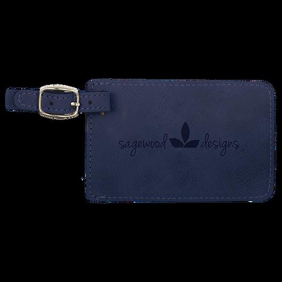 Blue/Black Leatherette Luggage Tag