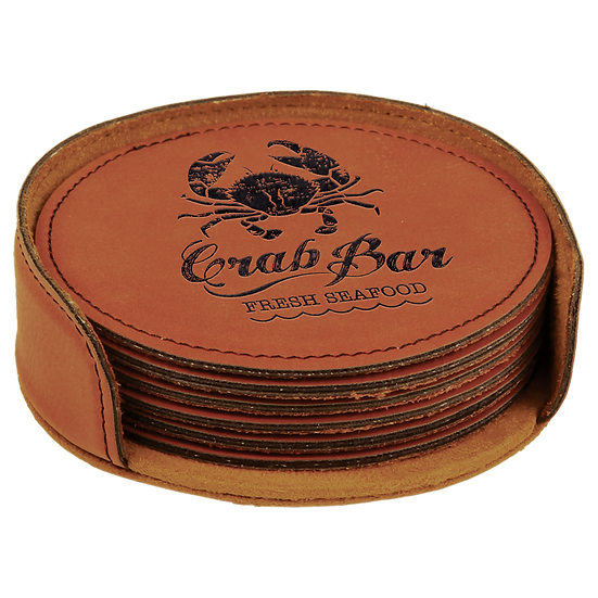 Rawhide Leatherette Round 6-Coaster Set