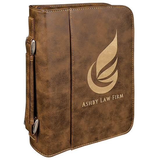 Rustic/Gold Leatherette Book/Bible Cover with Zipper & Handle