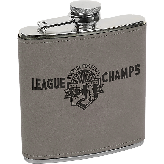 Gray Leatherette 6 oz. Flask