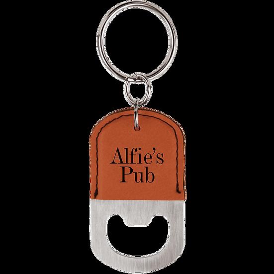 Rawhide Leatherette Oval Bottle Opener Keychain