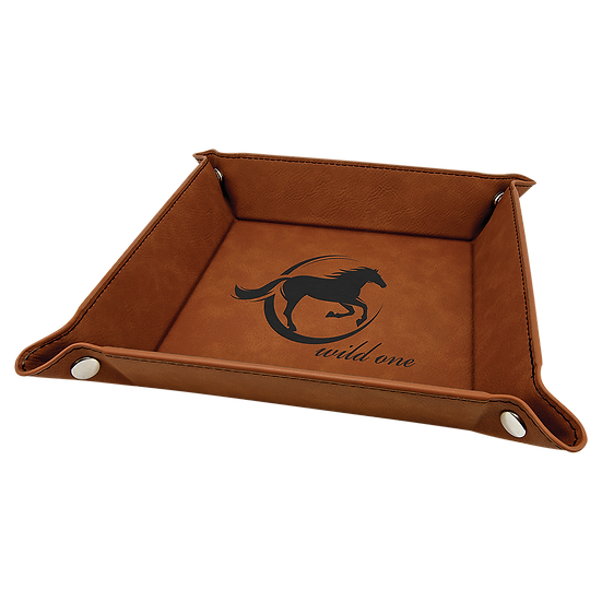 Rawhide Leatherette Folding Tray with Snaps