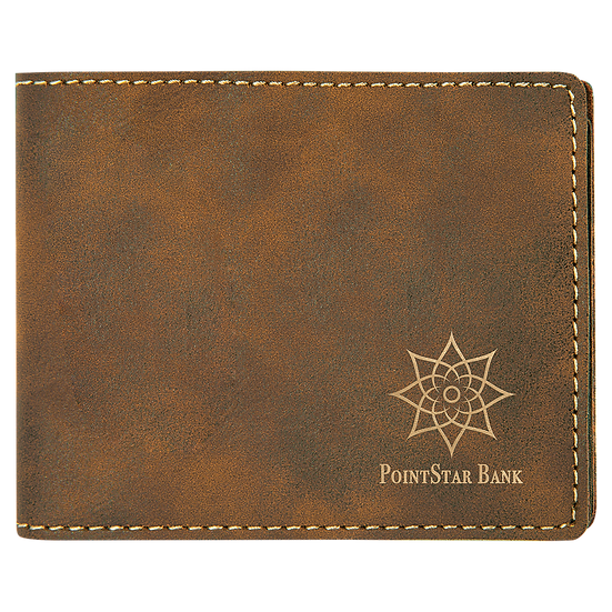 Rustic/Gold Leatherette Bifold Wallet
