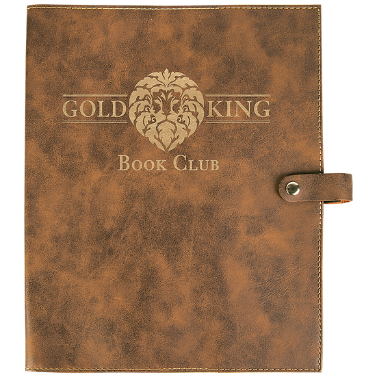 Rustic/Gold Leatherette Book Cover with Snap Closure