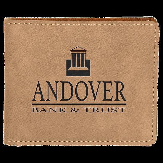 Light Brown Leatherette Bifold Wallet