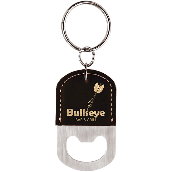 Black/Gold Leatherette Oval Bottle Opener Keychain