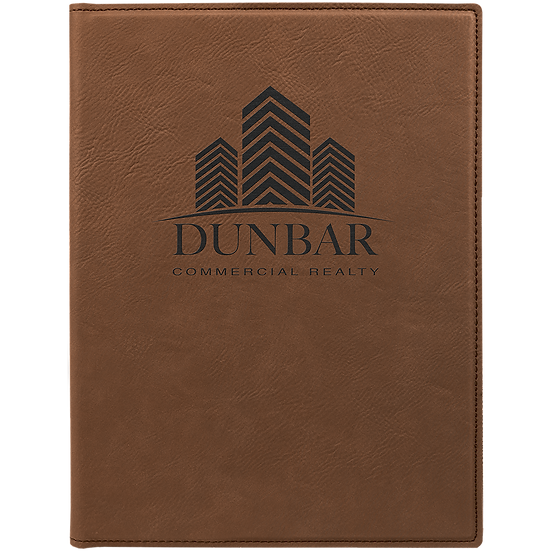 Dark Brown Small Leatherette Portfolio with Notepad