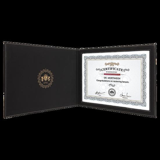 Black/Gold Leatherette Certificate Holder