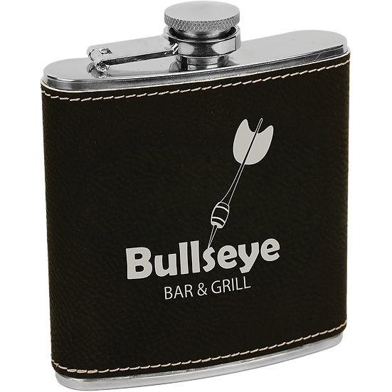 Black/Silver Leatherette 6 oz. Flask
