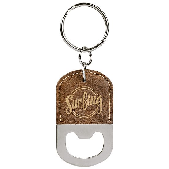 Rustic/Gold Leatherette Oval Bottle Opener Keychain