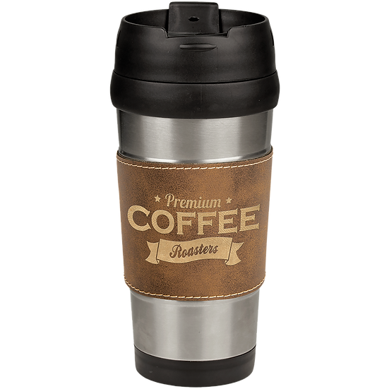 16 oz. Stainless Steel Travel Mug with Rustic/Gold Leatherette Grip