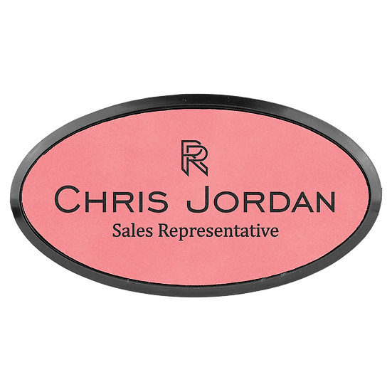 """Pink 3"""" x 1 1/2"""" Leatherette Oval Badge with Frame"""